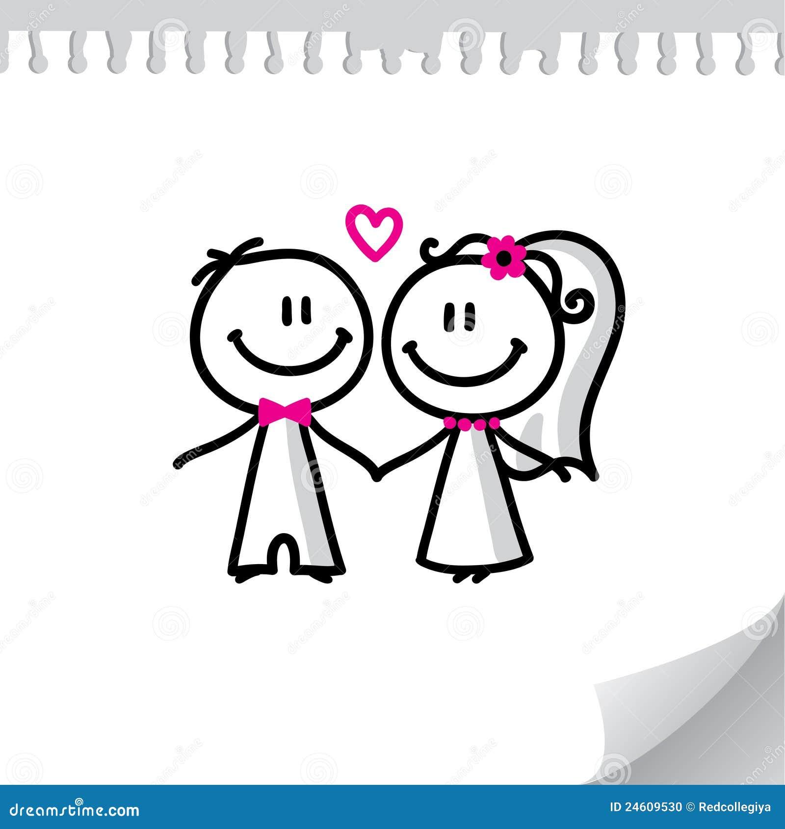 Cartoon wedding couple on realistic paper sheet.