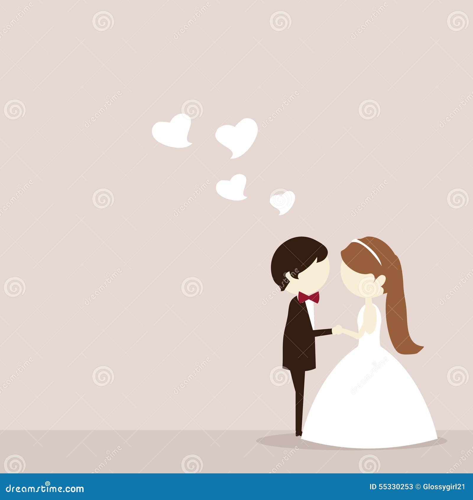Cartoon Wedding Couple Stock Illustration Illustration Of Backdrop 55330253