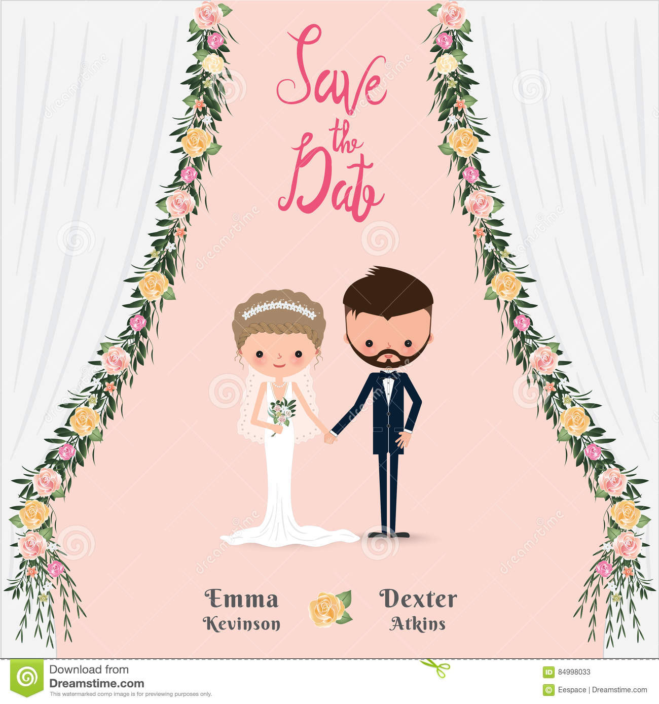 Cartoon wedding couple save the date invitation card stock vector download cartoon wedding couple save the date invitation card stock vector illustration of hands stopboris Images