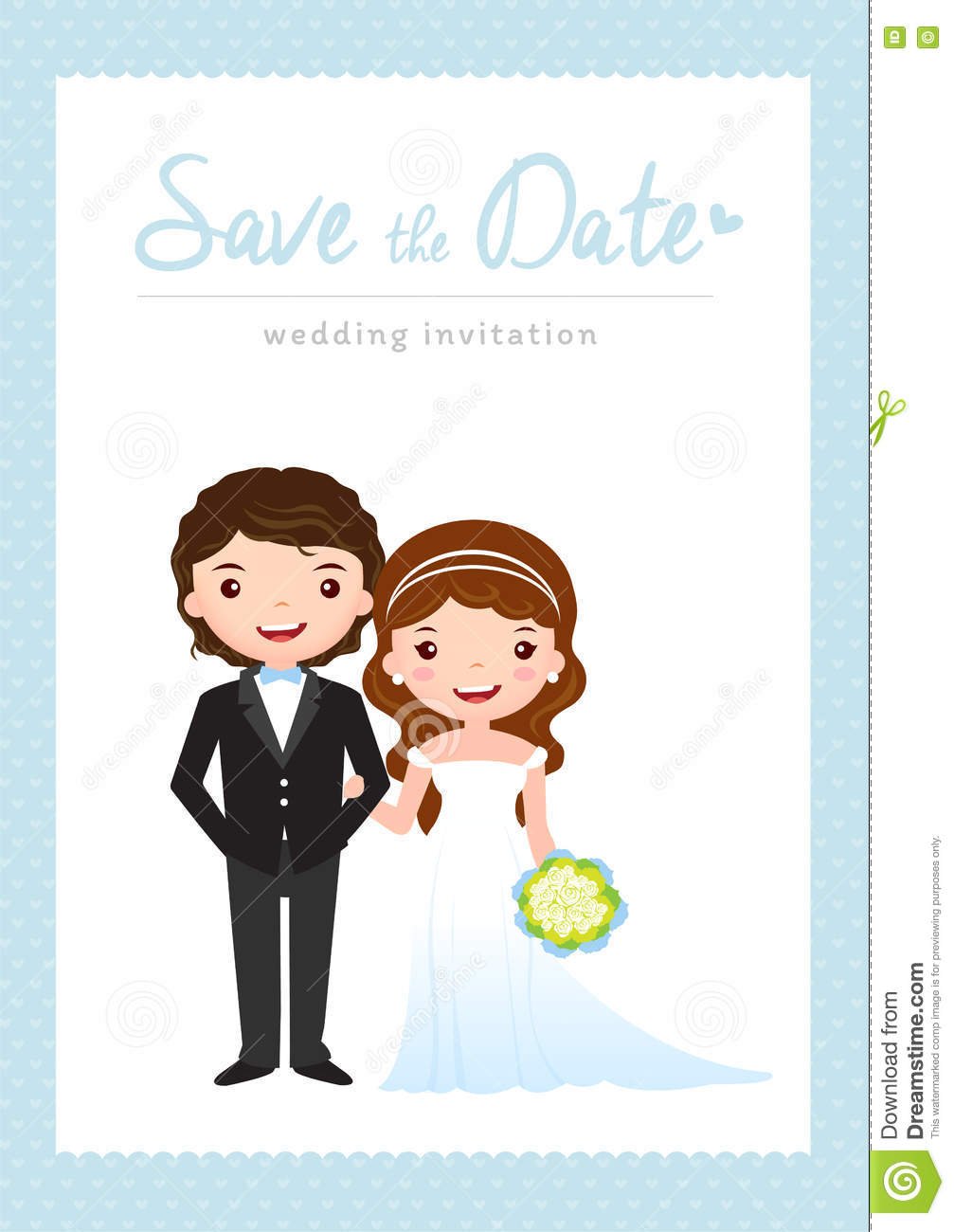 ... groom and bride cartoon wedding template design, vector illustration