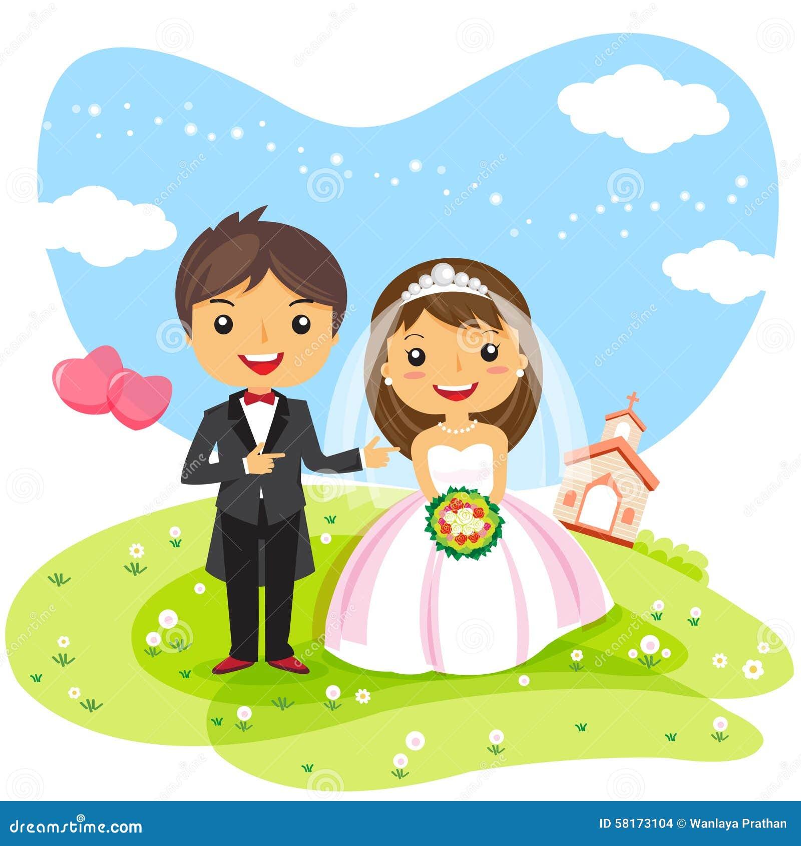 Cartoon Wedding Invitation Couple Stock Vector