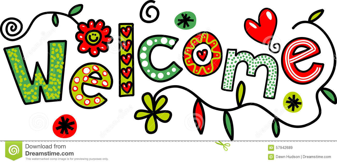Cartoon Welcome Text Stock Illustration - Image: 57942689