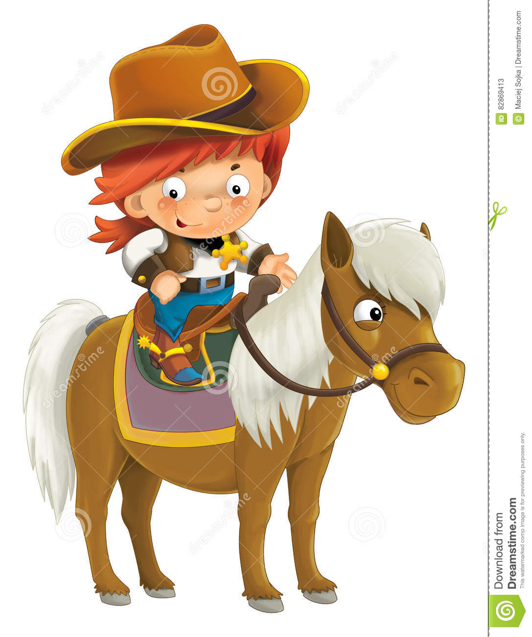 8a454e5b2 Cartoon Western Cowboy On Horse - Isolated Stock Illustration ...