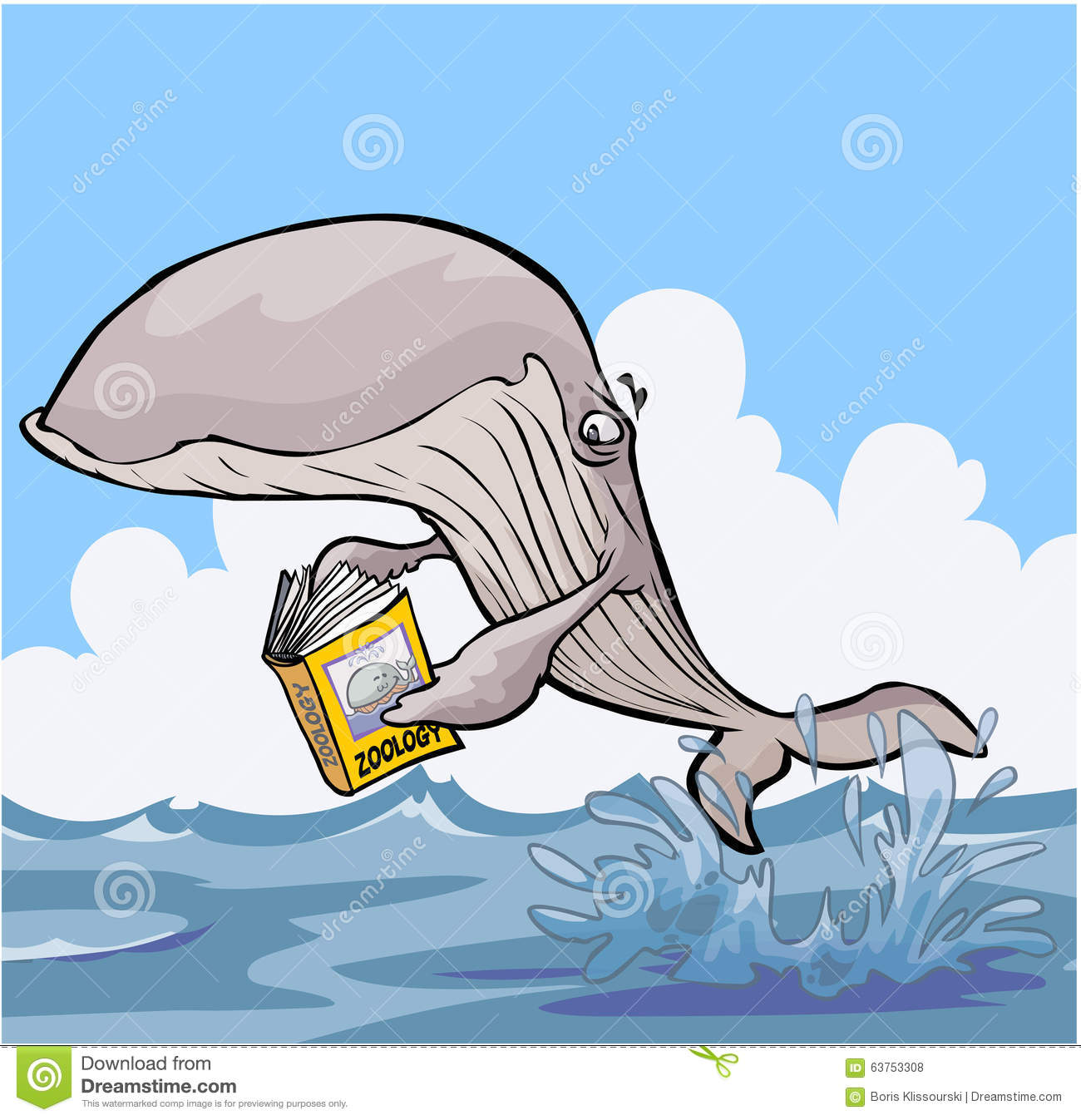 Cartoon Whale reading Zoology textbook.