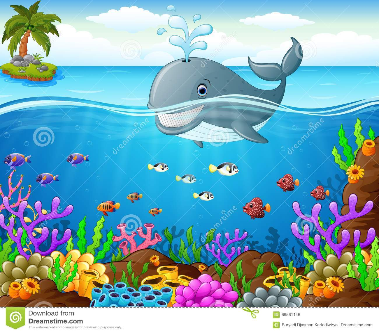 Cartoon Whale Under The Sea Stock Vector Illustration Of