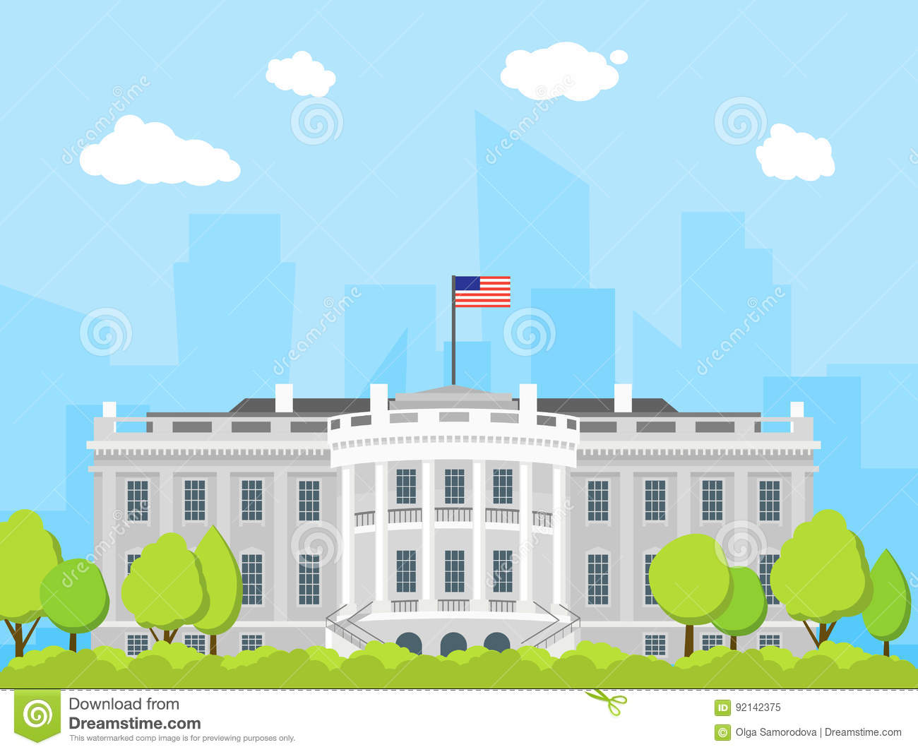 Cartoon white house building vector stock vector image for Construct a house online