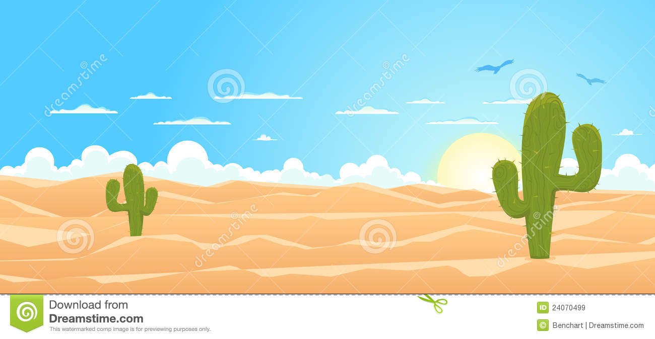 Illustration of a cartoon mexican or Texas desert landscape with ...