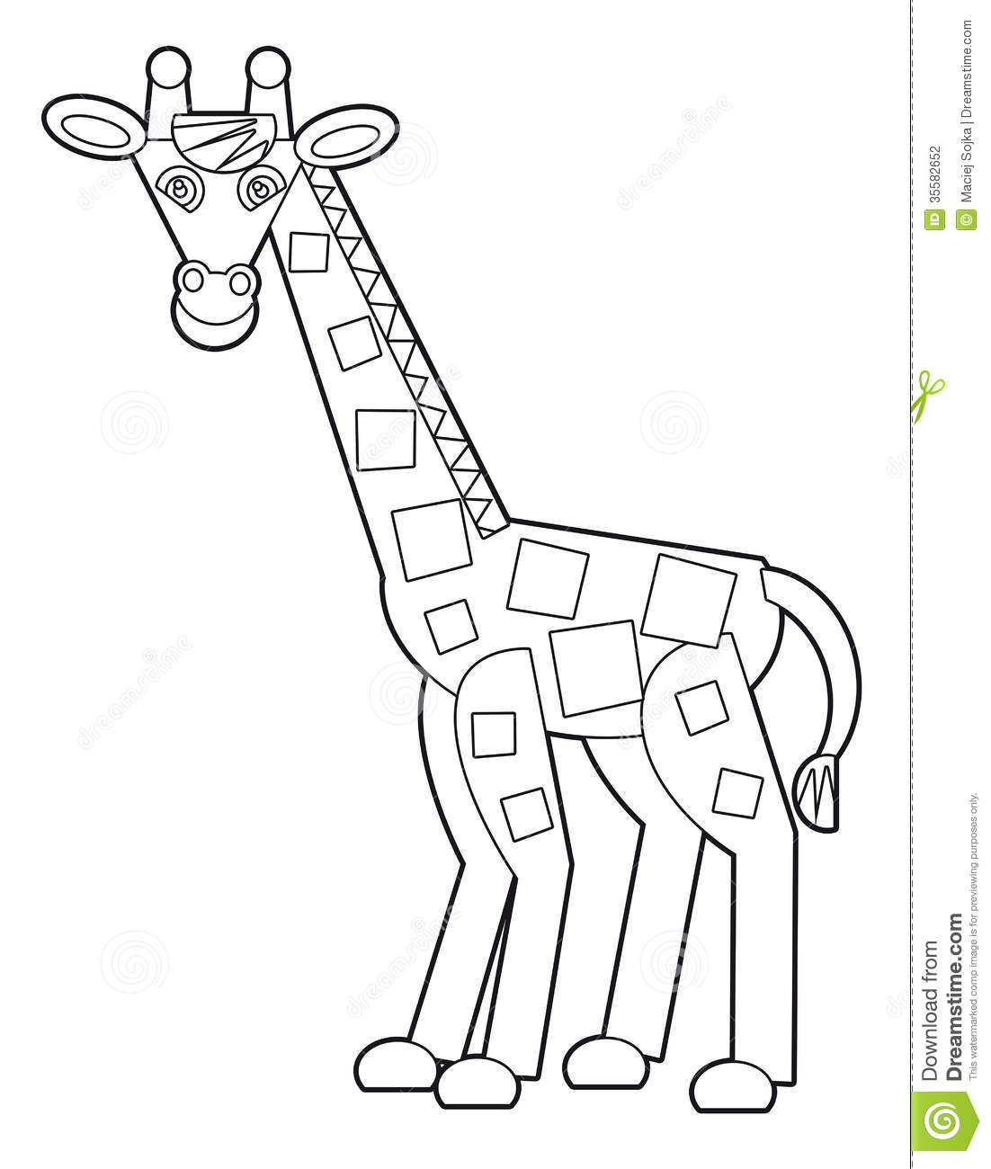 Cartoon wild animal coloring page for the children stock Crazy animals coloring book