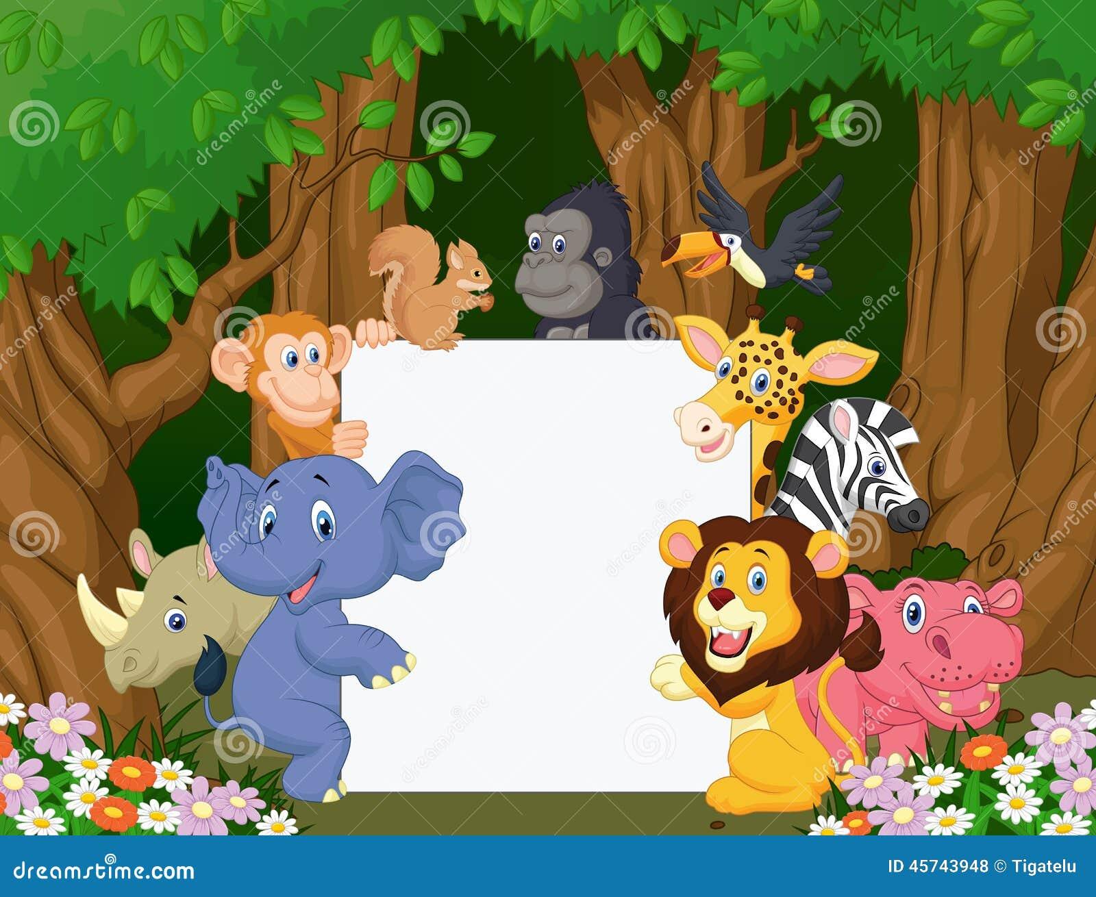 Cartoon Wild Animal Holding Blank Sign Stock Vector