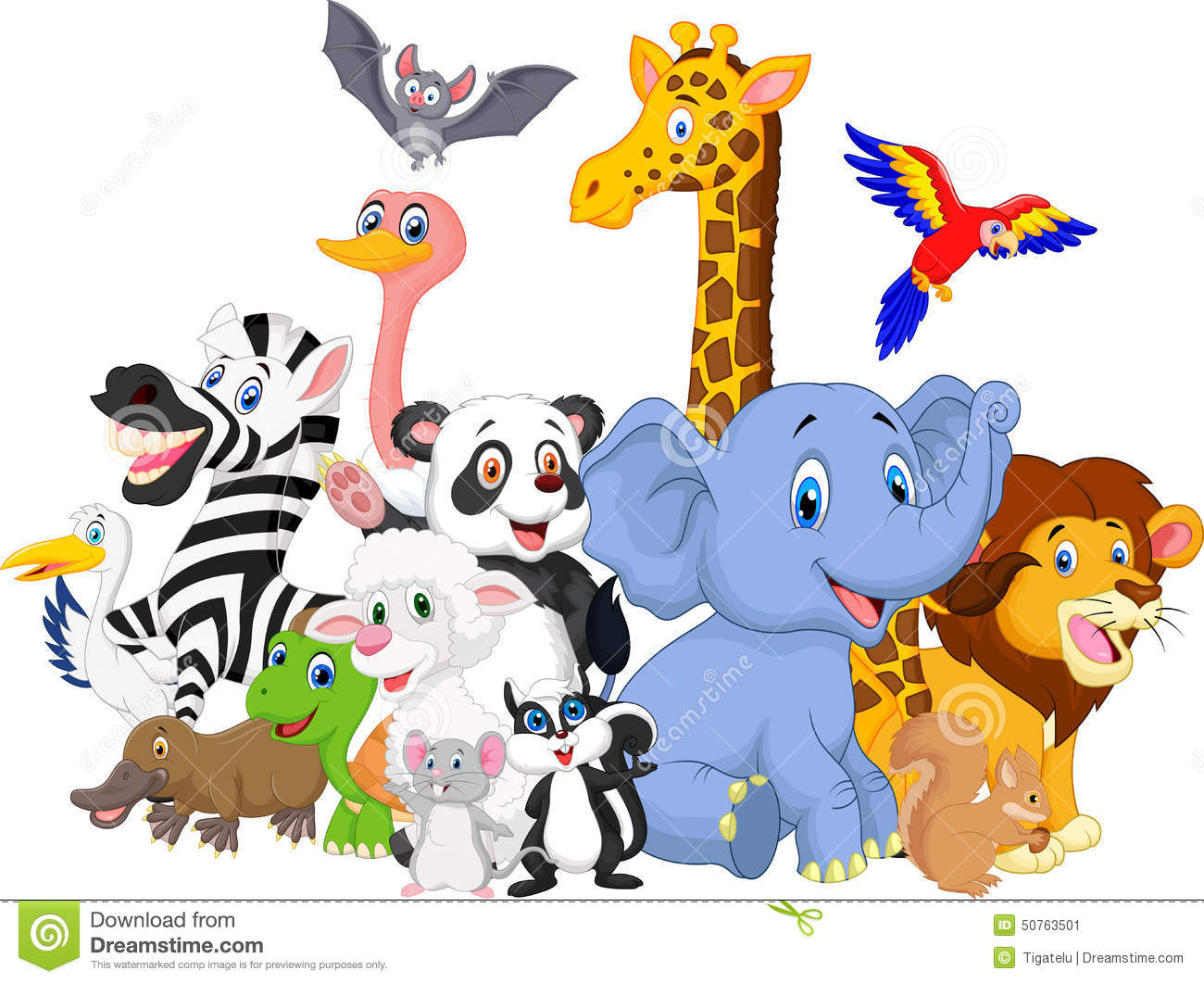 cartoon wild animals background stock vector image 50763501 stock clipart stock clipart free