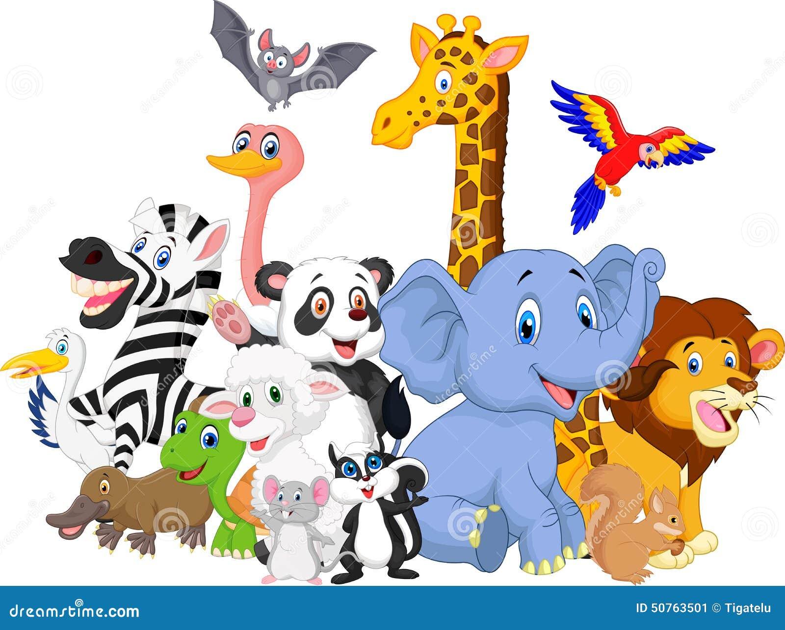 Cartoon Wild Animals Background Stock Vector - Image: 50763501