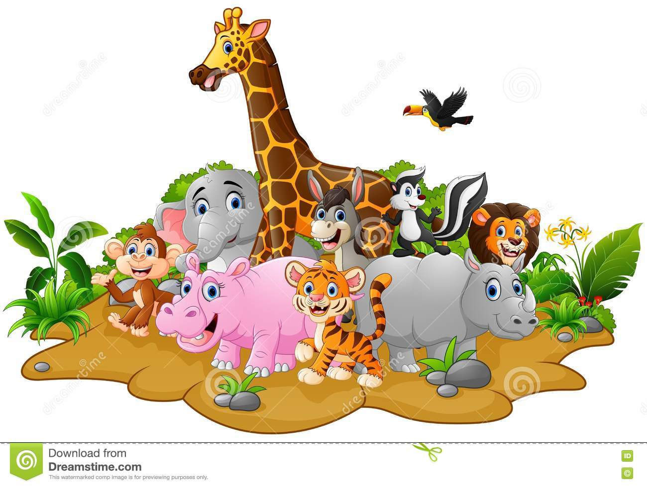 Cartoon Wild Animals Background Stock Vector