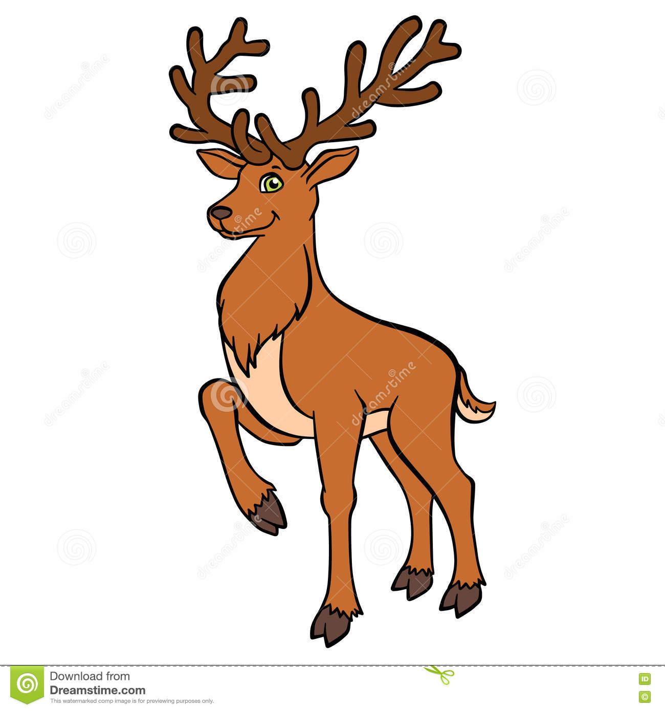 cartoon wild animals for kids cure deer with great horns free santa and reindeer clipart free santa and reindeer clipart