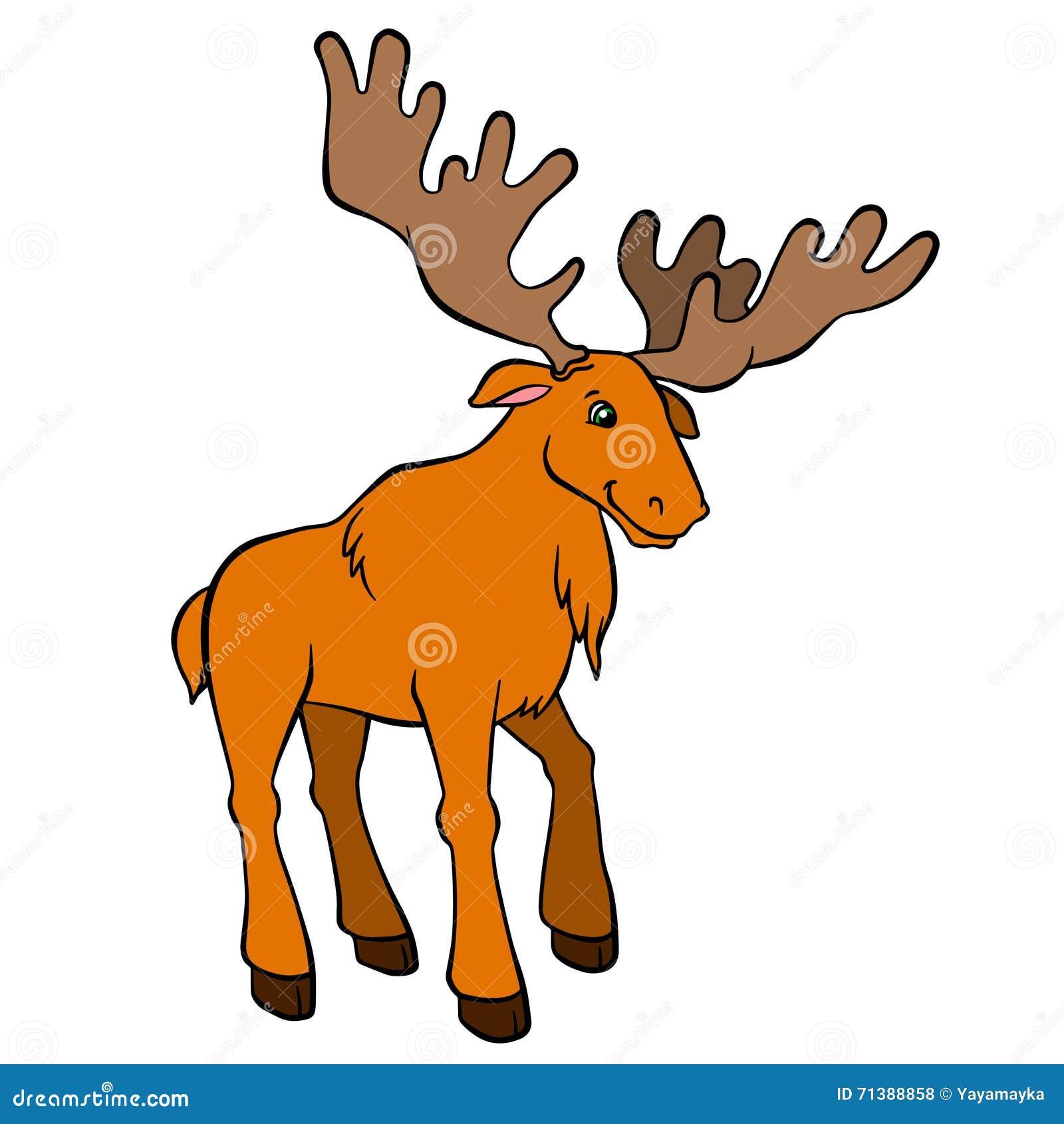 cartoon wild animals for kids cute elk with huge horns stock