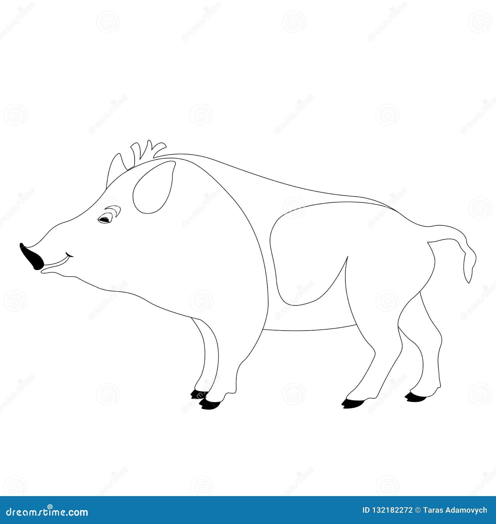 Cartoon Wild Boar, Vector Illustration, Lining Stock ...