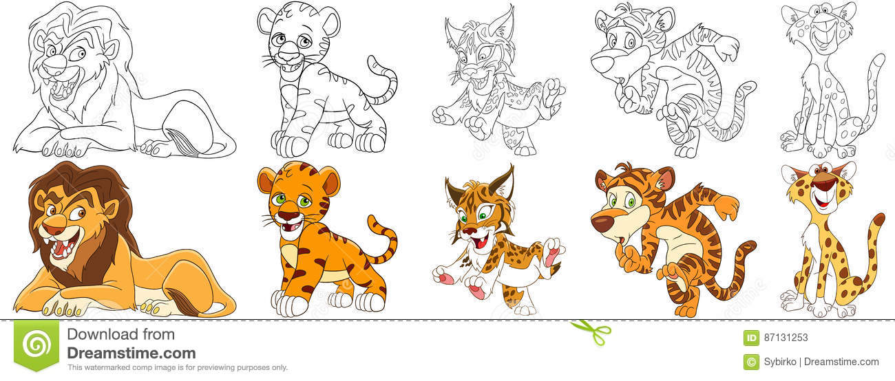 Cartoon Wild Cats Set Stock Vector Illustration Of