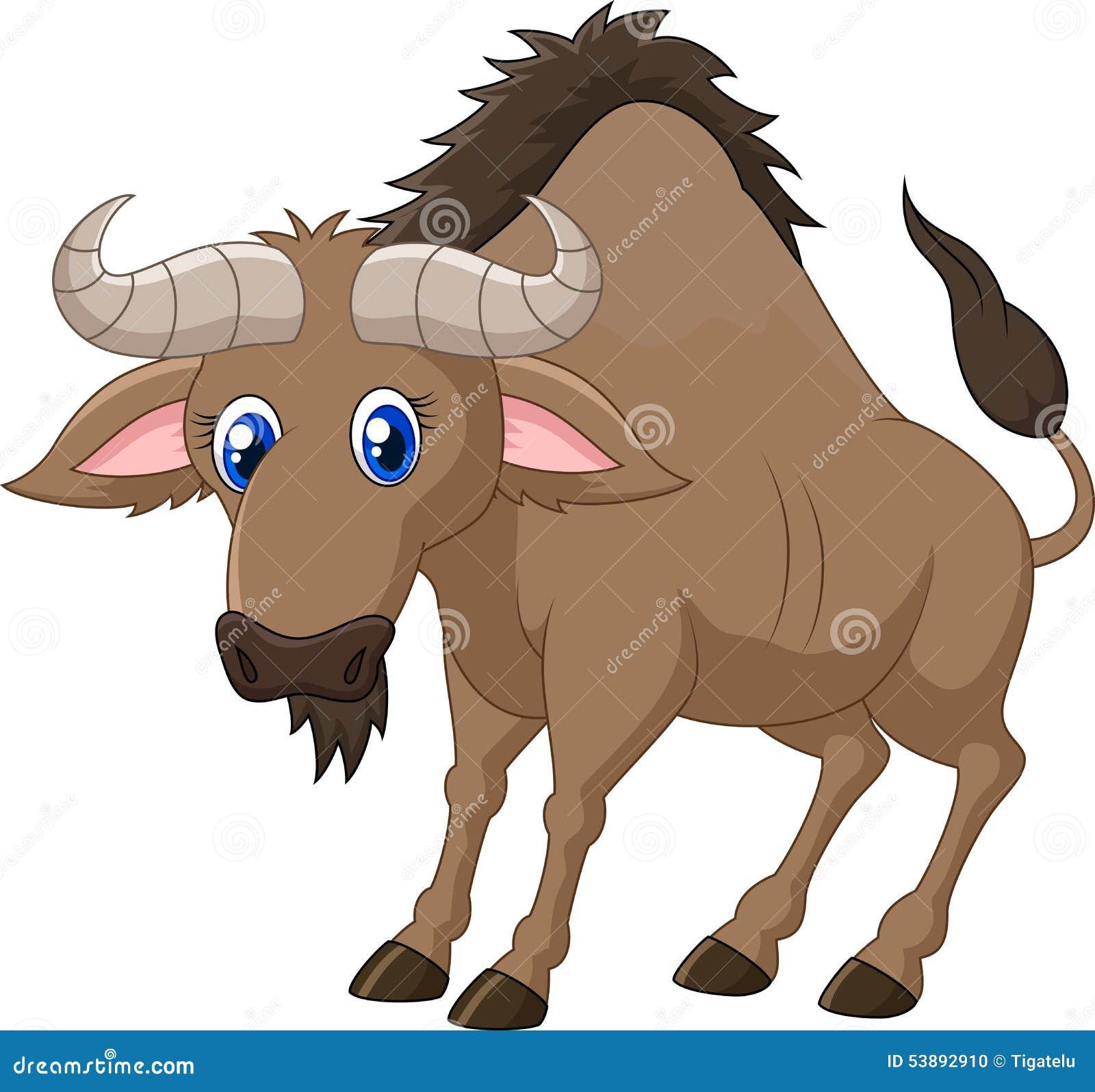 Cartoon a Wildebeest stock vector. Illustration of ...