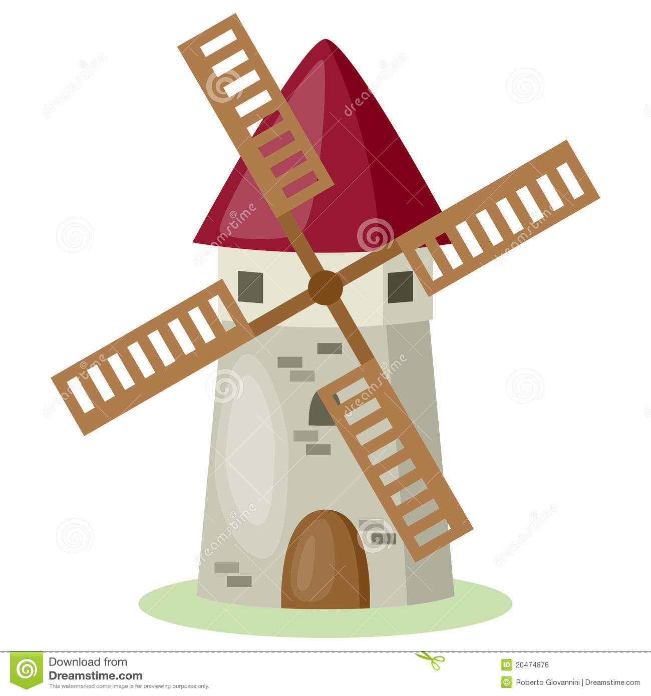 Cartoon windmill isolated on white background. Eps file available.