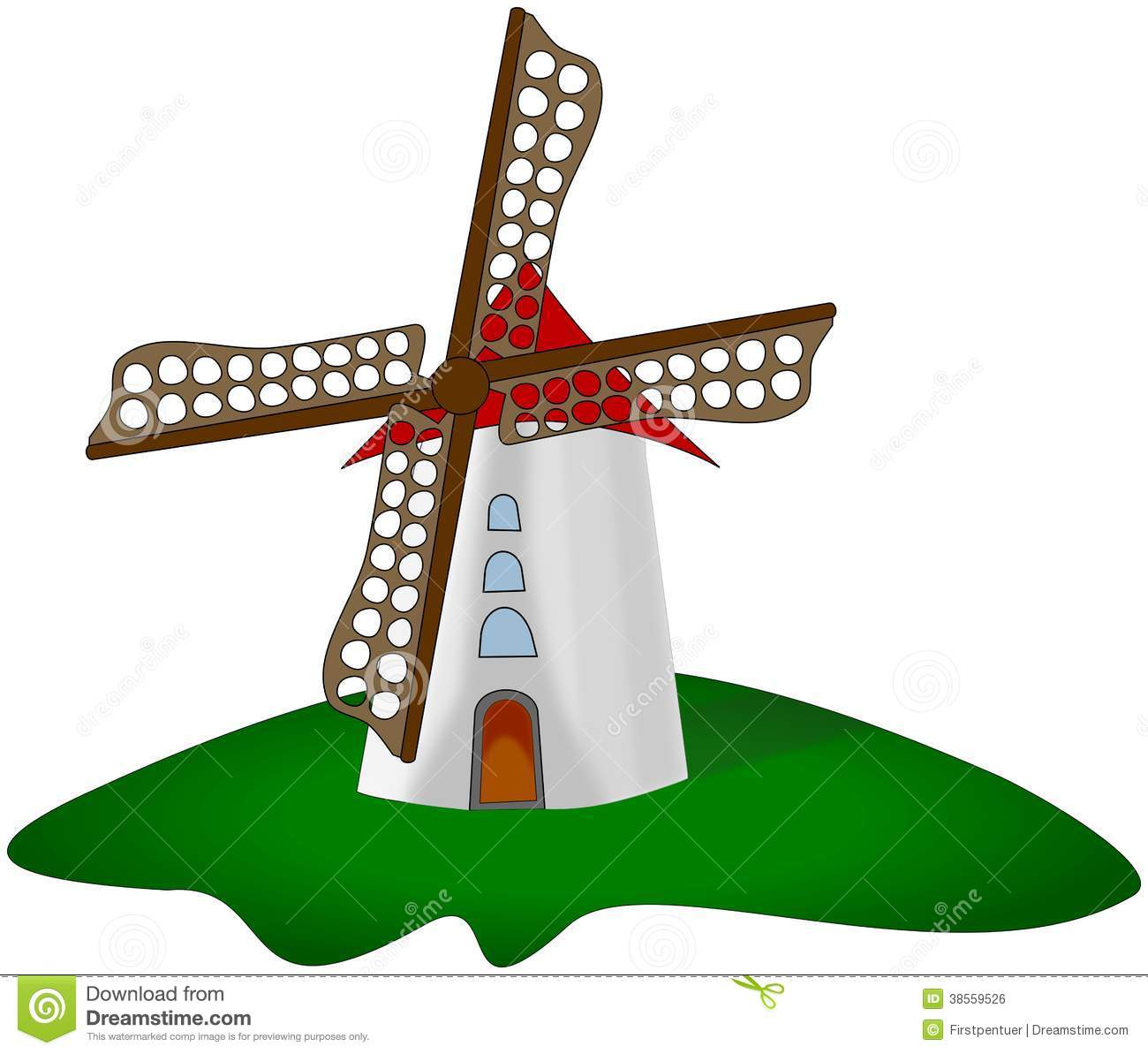 Cartoon Windmill At Green Grass Isolated On White Royalty Free Stock ...