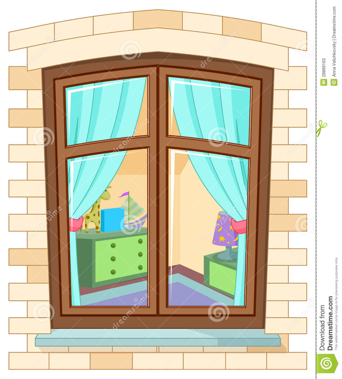 Glass Window Clip Art : Cartoon window stock vector illustration of indoors