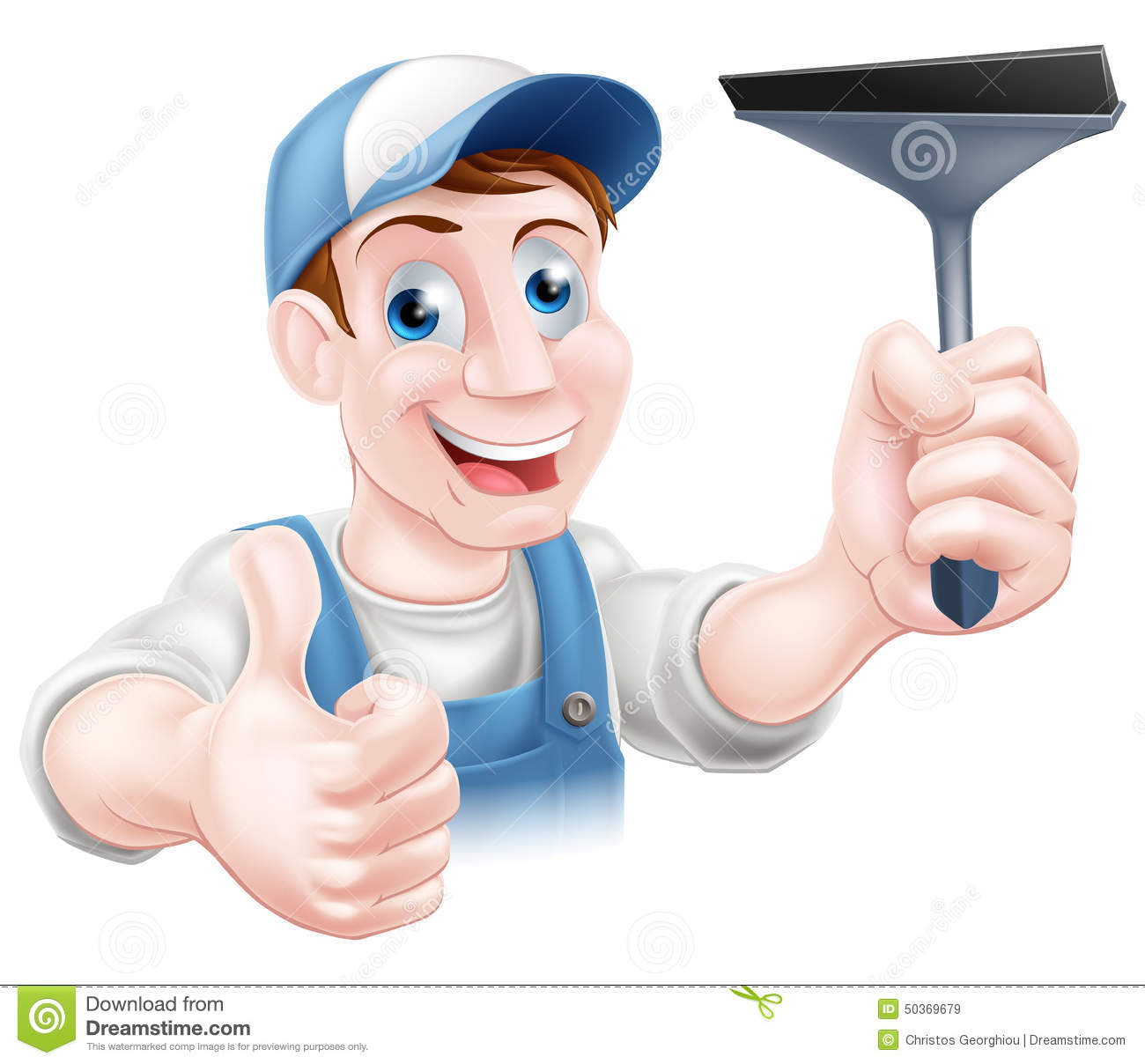 Cartoon Window Cleaner Holding A Squeegee And Giving Thumbs Up