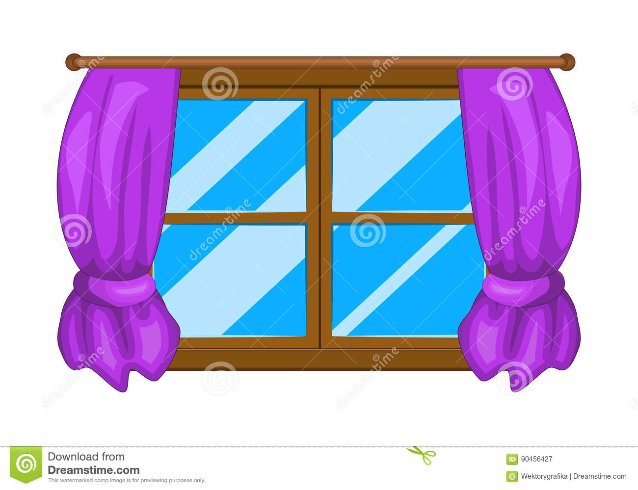 Cartoon Window With Curtains Vector Symbol Icon Design. Stock ... for Window With Curtains Illustration  146hul