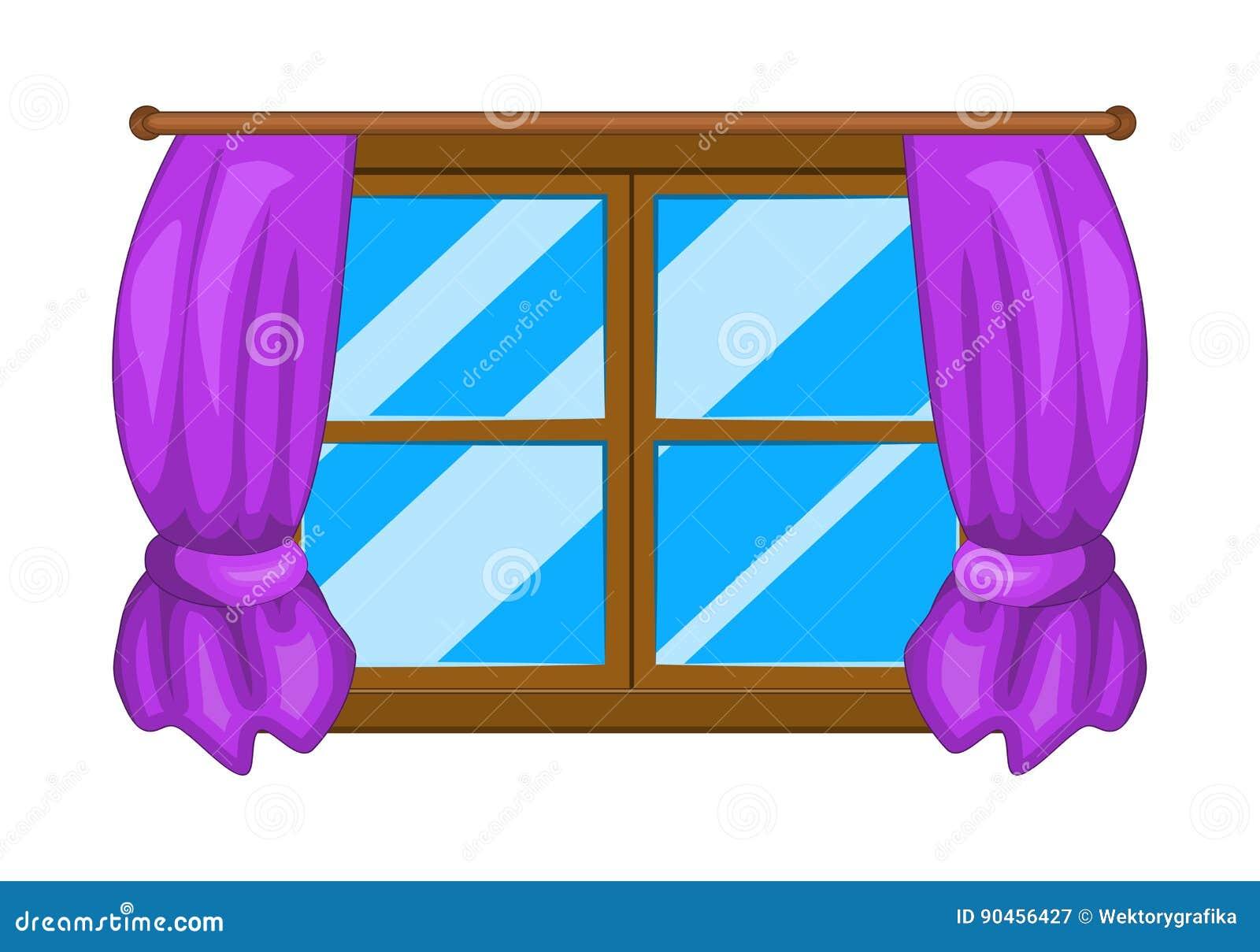Cartoon Window With Curtains Vector Symbol Icon Design. Stock Vector ... for Window With Curtains Clipart  300lyp