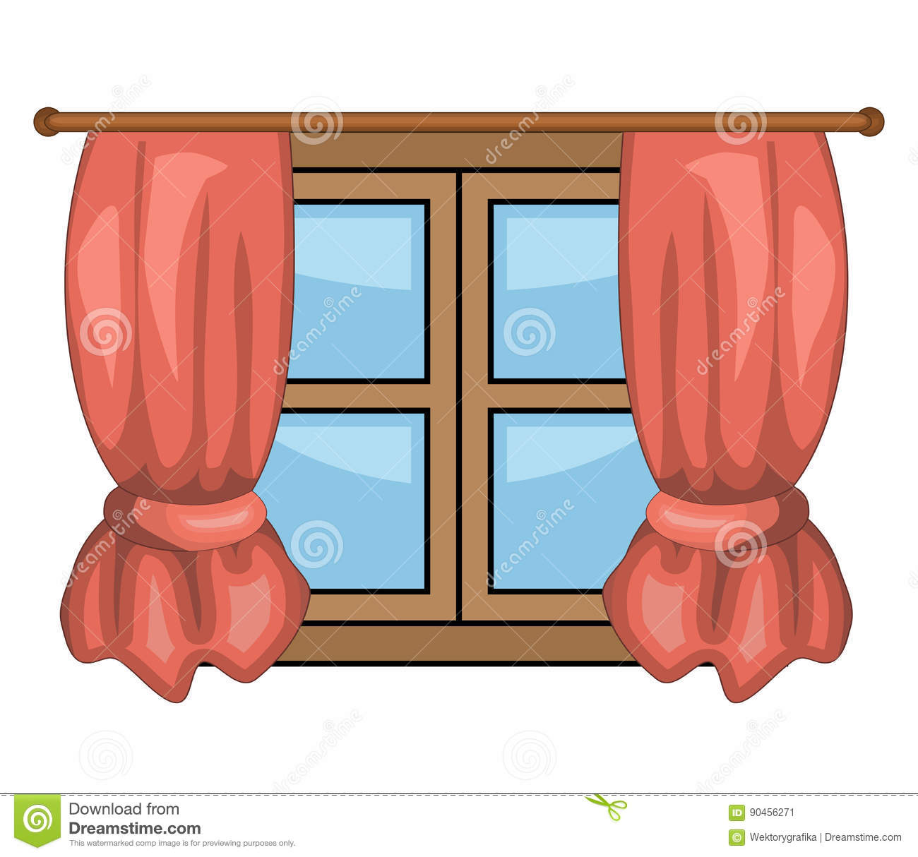 Cartoon window with curtains vector symbol icon design for Window design clipart