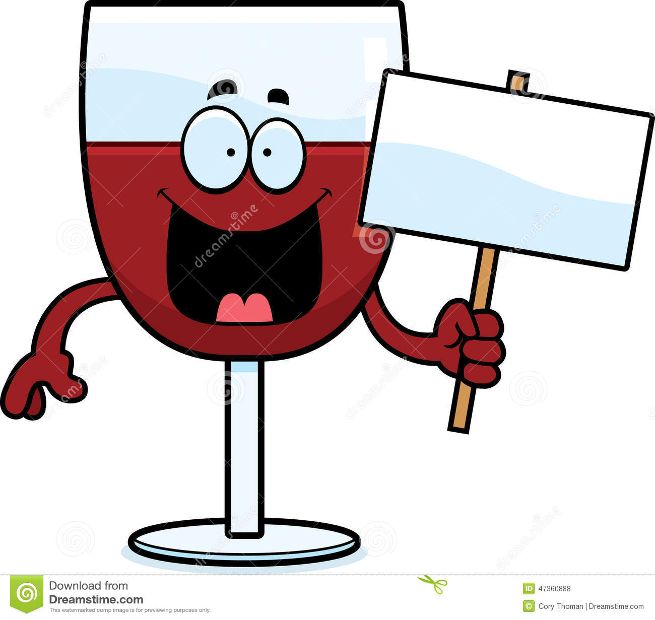 cartoon illustration of a glass of wine holding a sign.