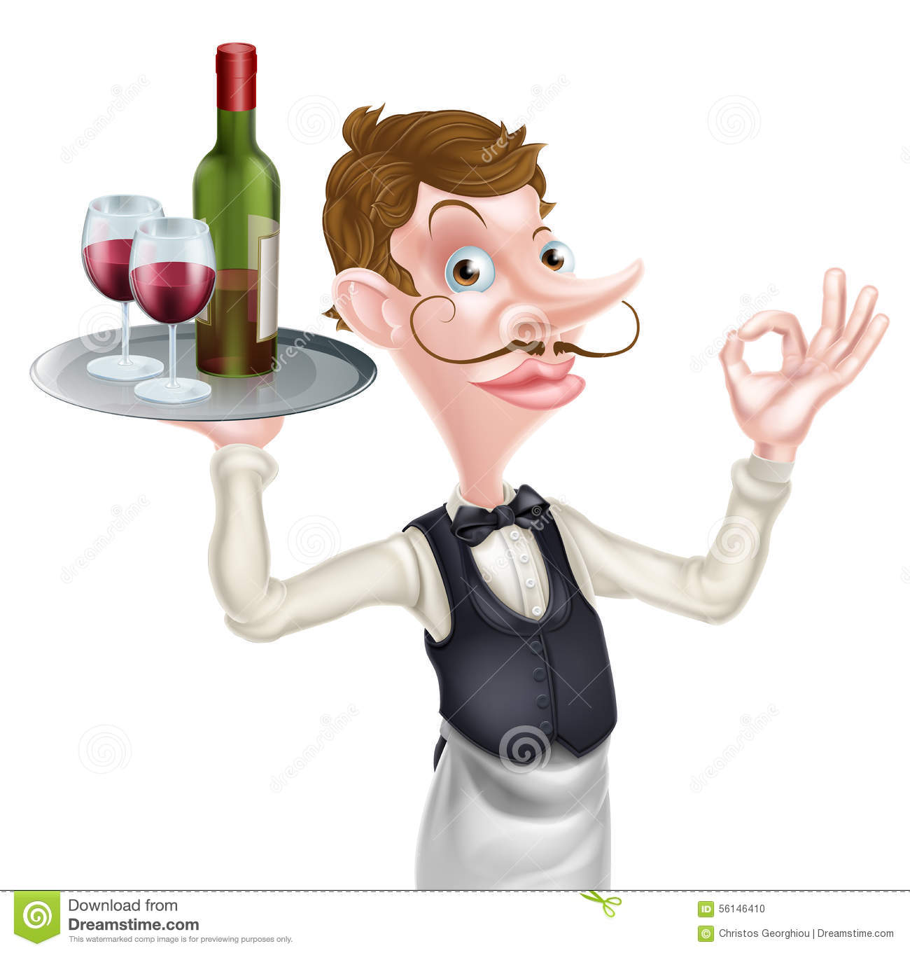 cartoon wine waiter stock vector