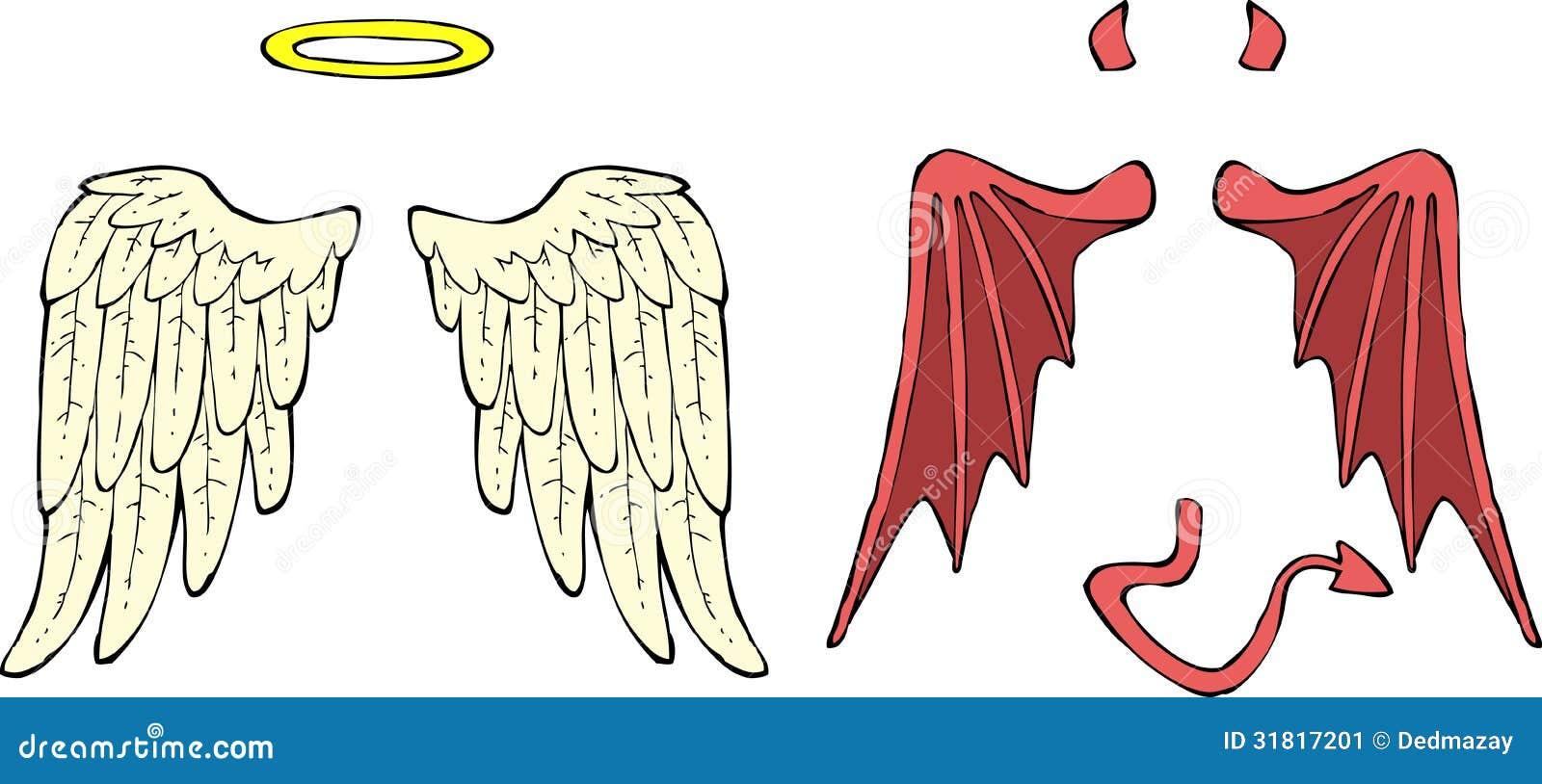 Cartoon angel and demon wings vector