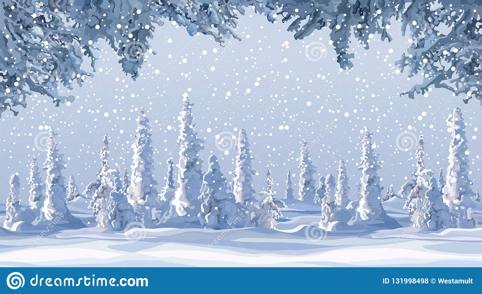 Cartoon Winter Background With Snow Covered Firs In Snowfall Stock Vector Illustration Of Snowflakes Frozen 131998498