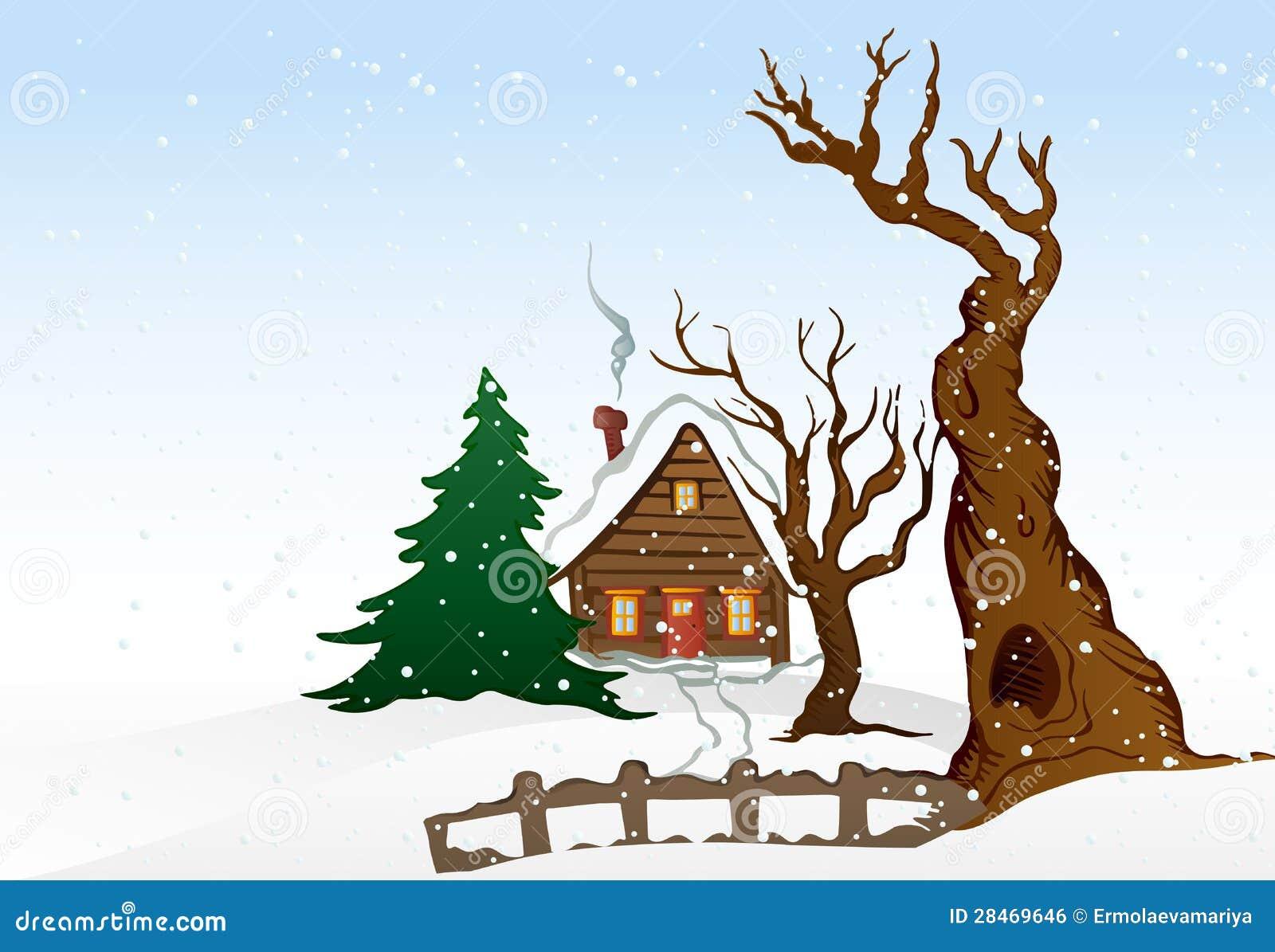 Cartoon winter houses on white background - vector illustration.