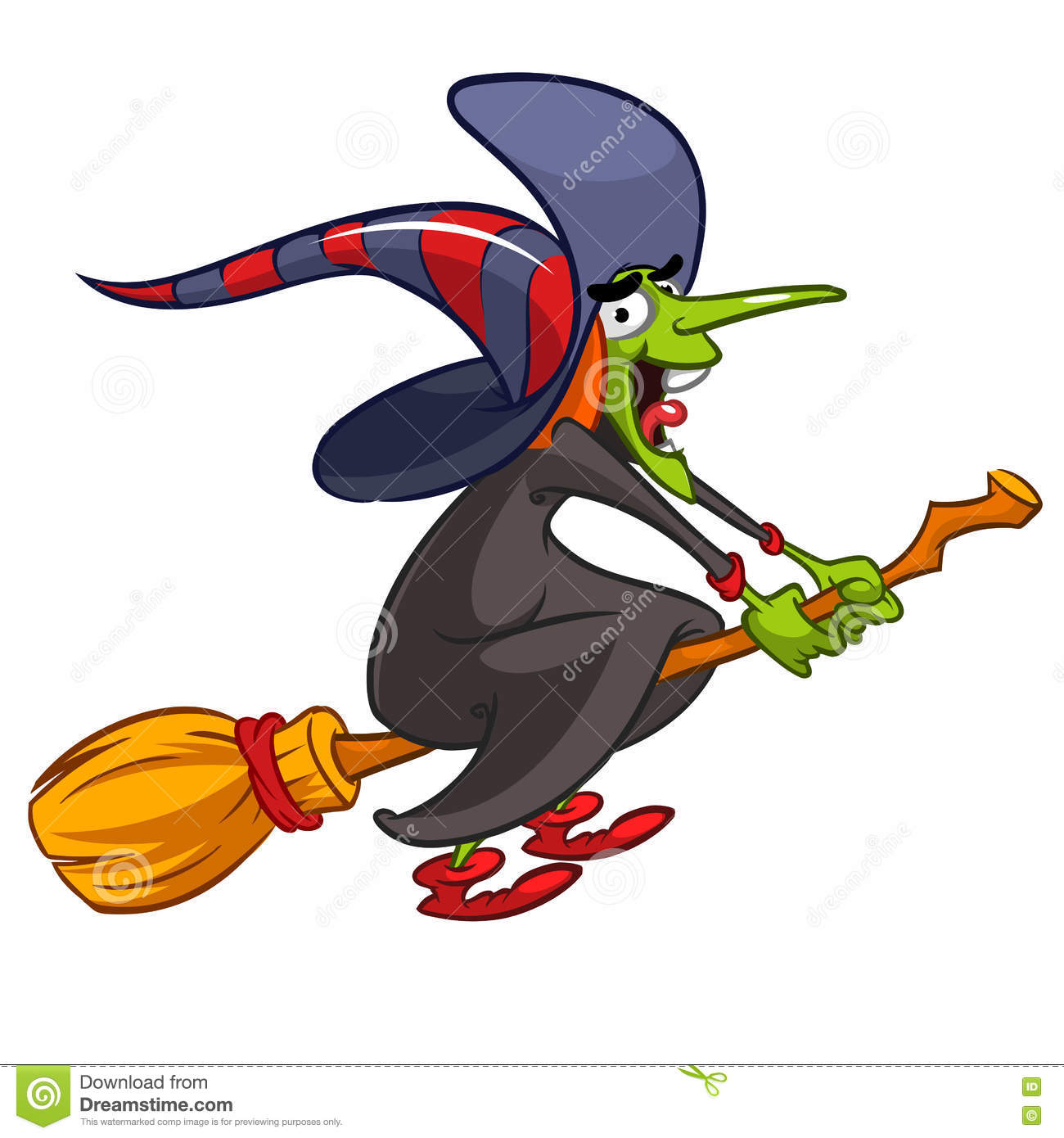 cartoon witch flying on a broom vector halloween illustration with a funny witch on white - Flying Halloween Witch