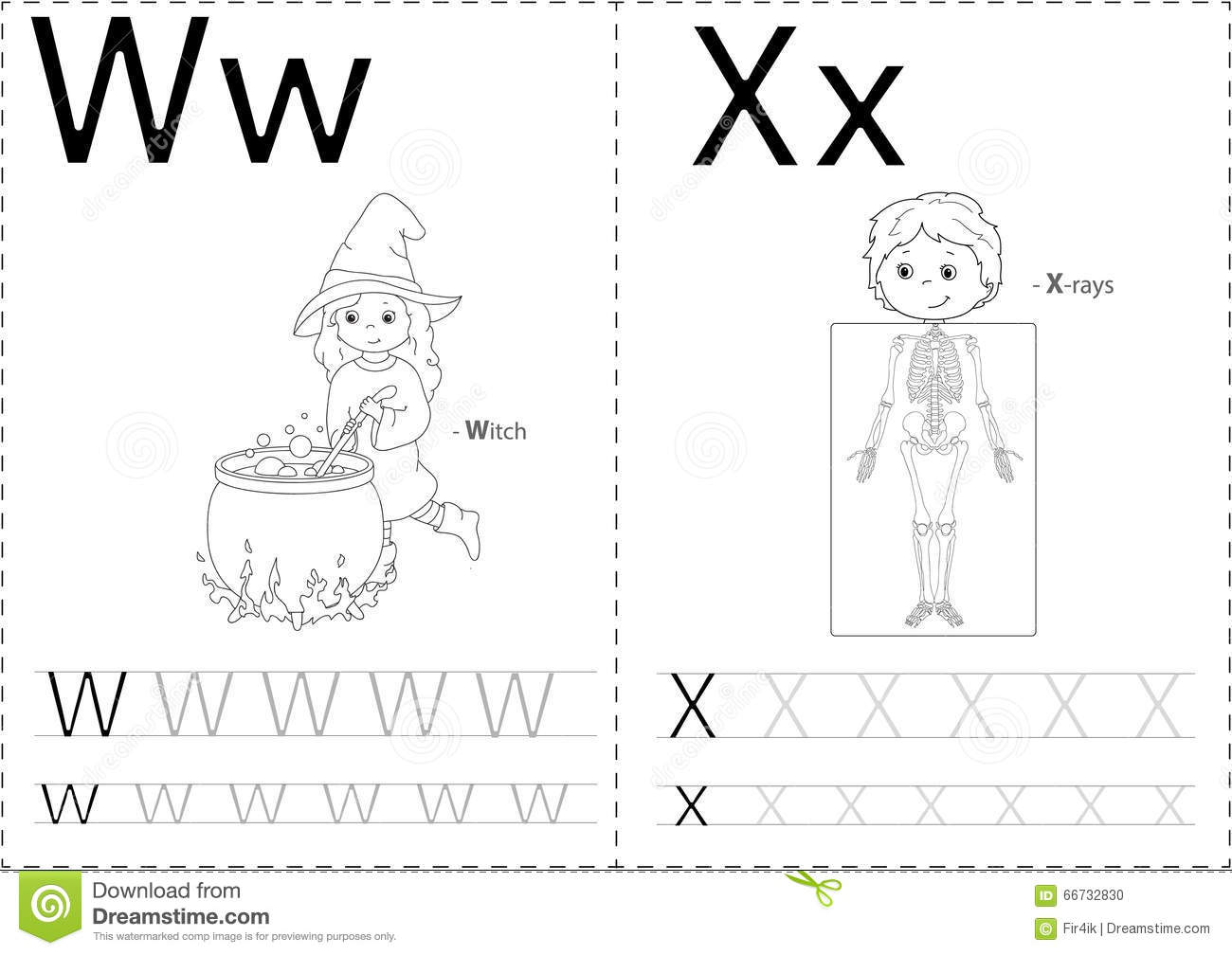 Cartoon Witch And X-rays. Alphabet Tracing Worksheet Stock Vector - Image: 66732830