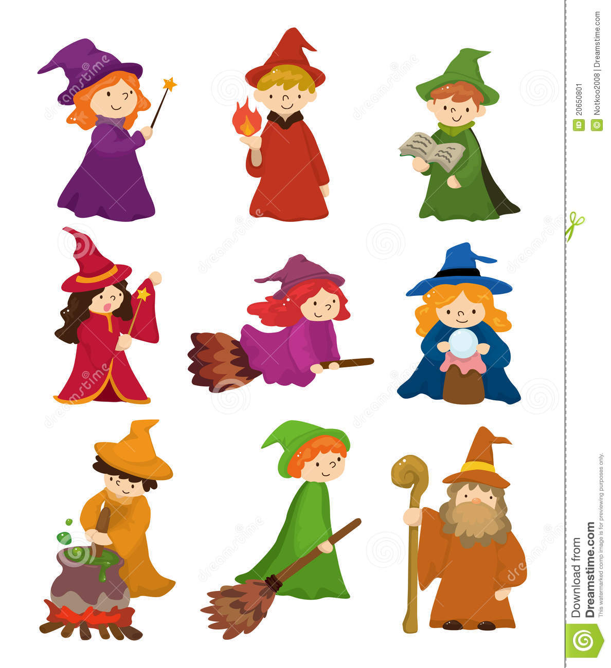 cartoon wizard and witch icon set stock vector image