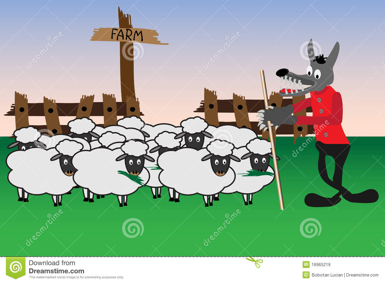Cartoon With Wolf And Sheep Royalty Free Stock Images