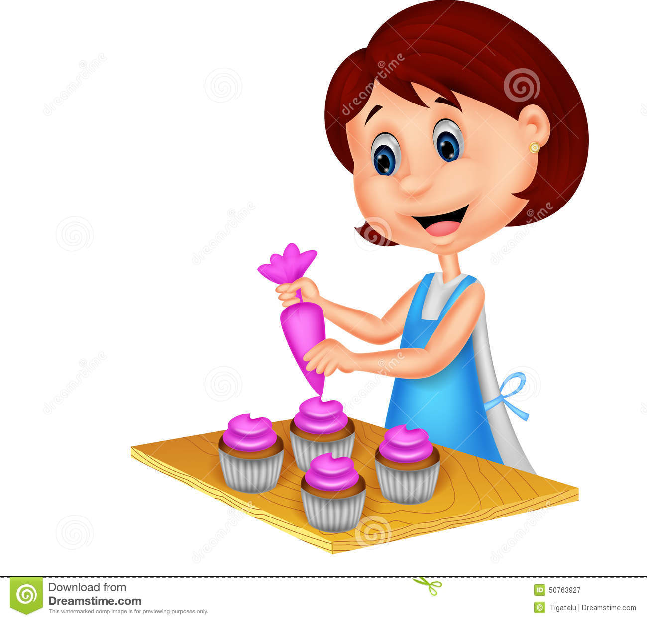 Royalty Free Vector. Download Cartoon Woman With Apron Decorating Cupcakes  ...