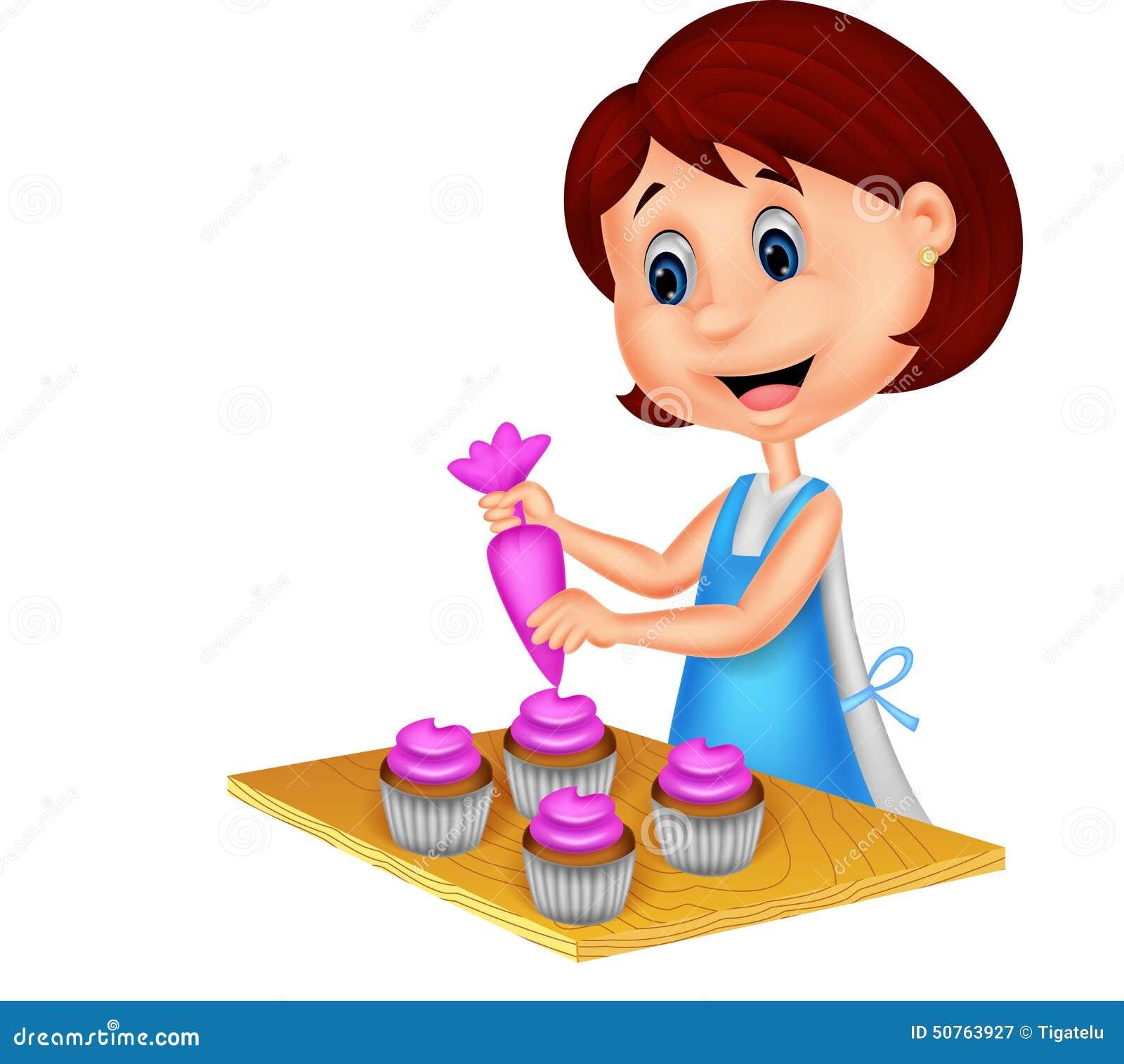 apron cartoon decorating illustration woman