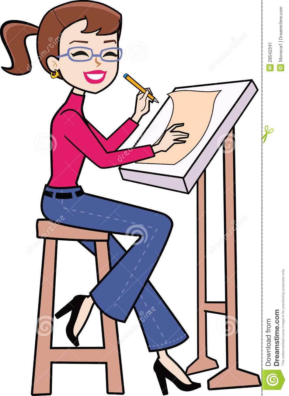 Retro drawing cartoon woman sitting and making plans on the drawing ...