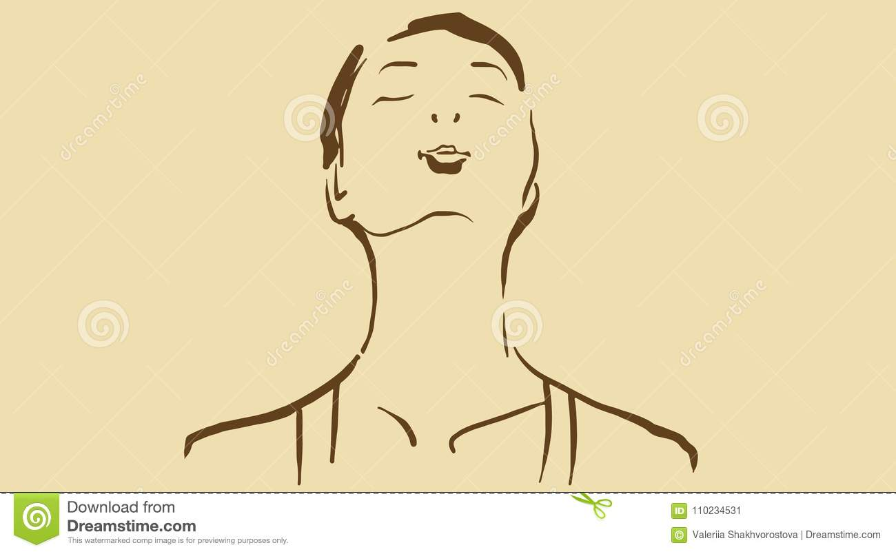 Cartoon Woman With Closed Eyes And Thrown Back Head Stock Vector