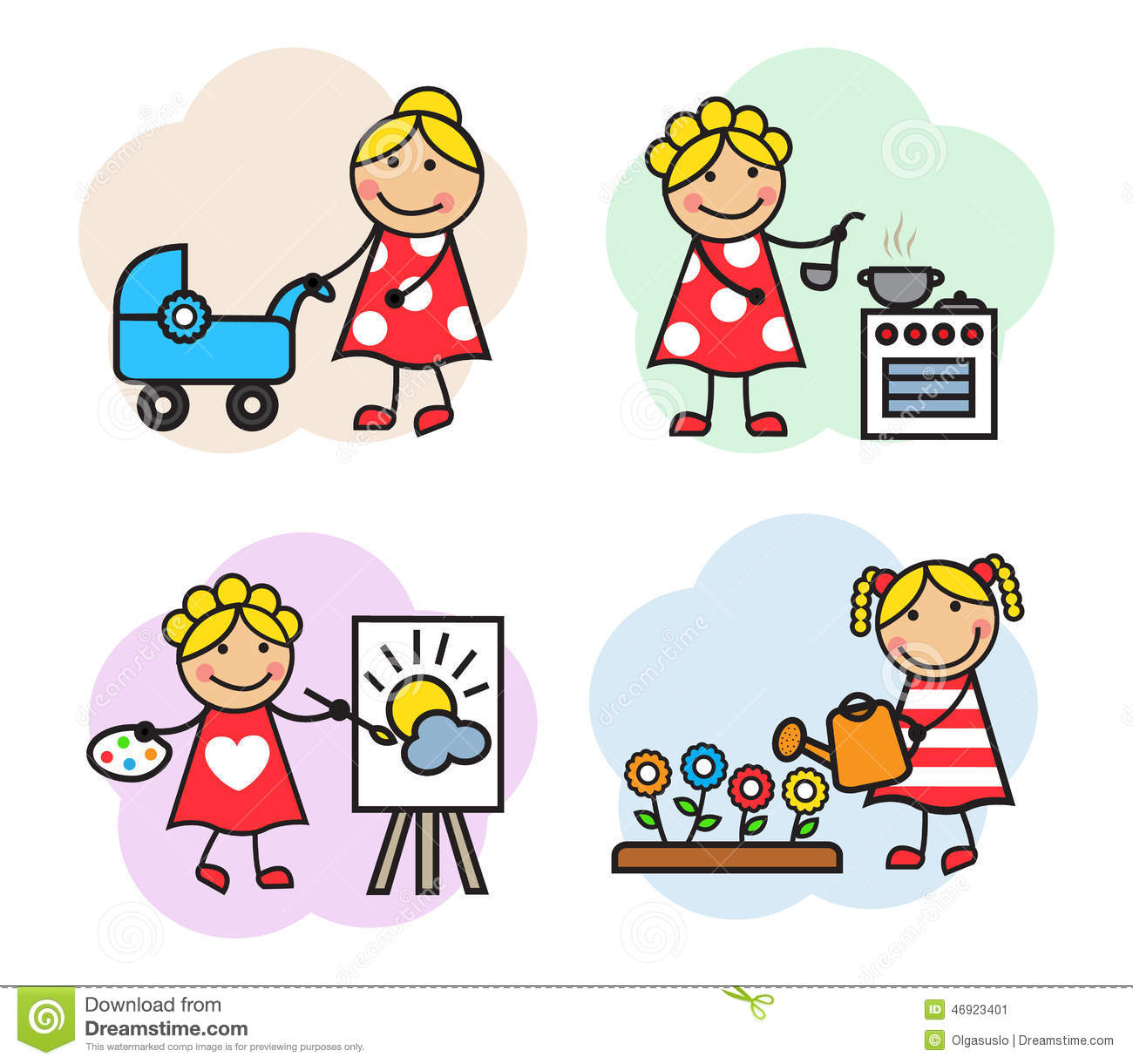 Cartoon Woman Hobby Stock Vector Image 46923401