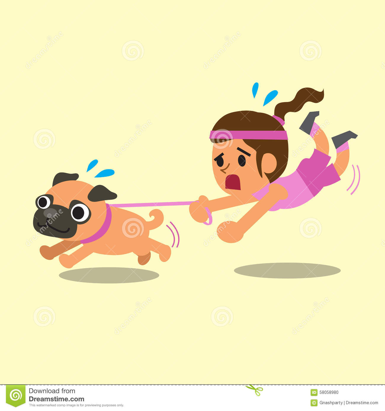 cartoon woman pulled by her pug dog stock vector