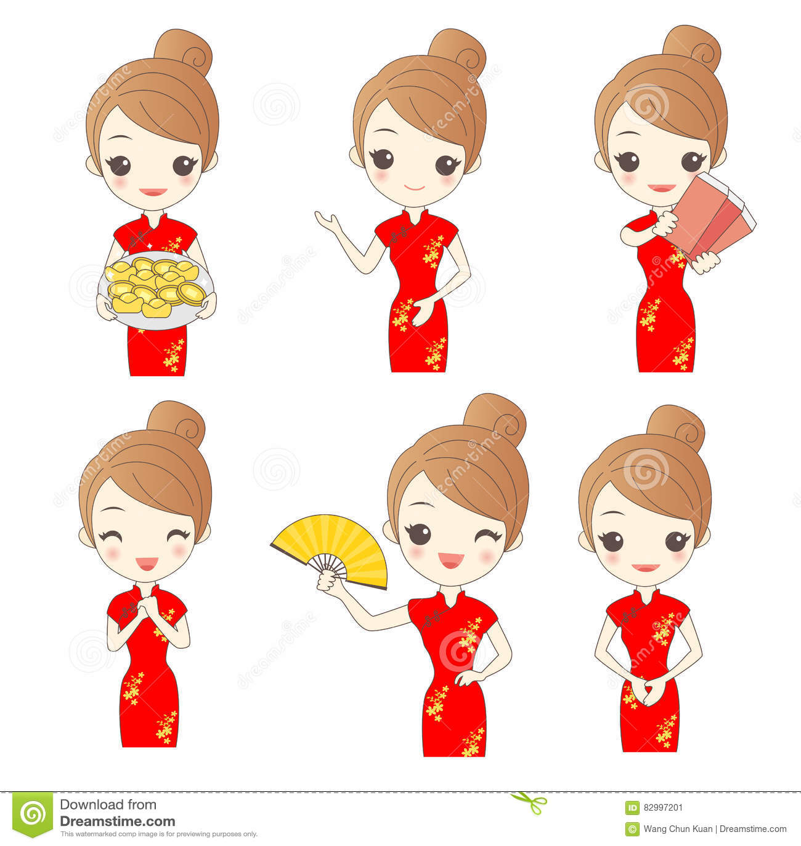 Qipao Cartoons, Illustrations & Vector Stock Images
