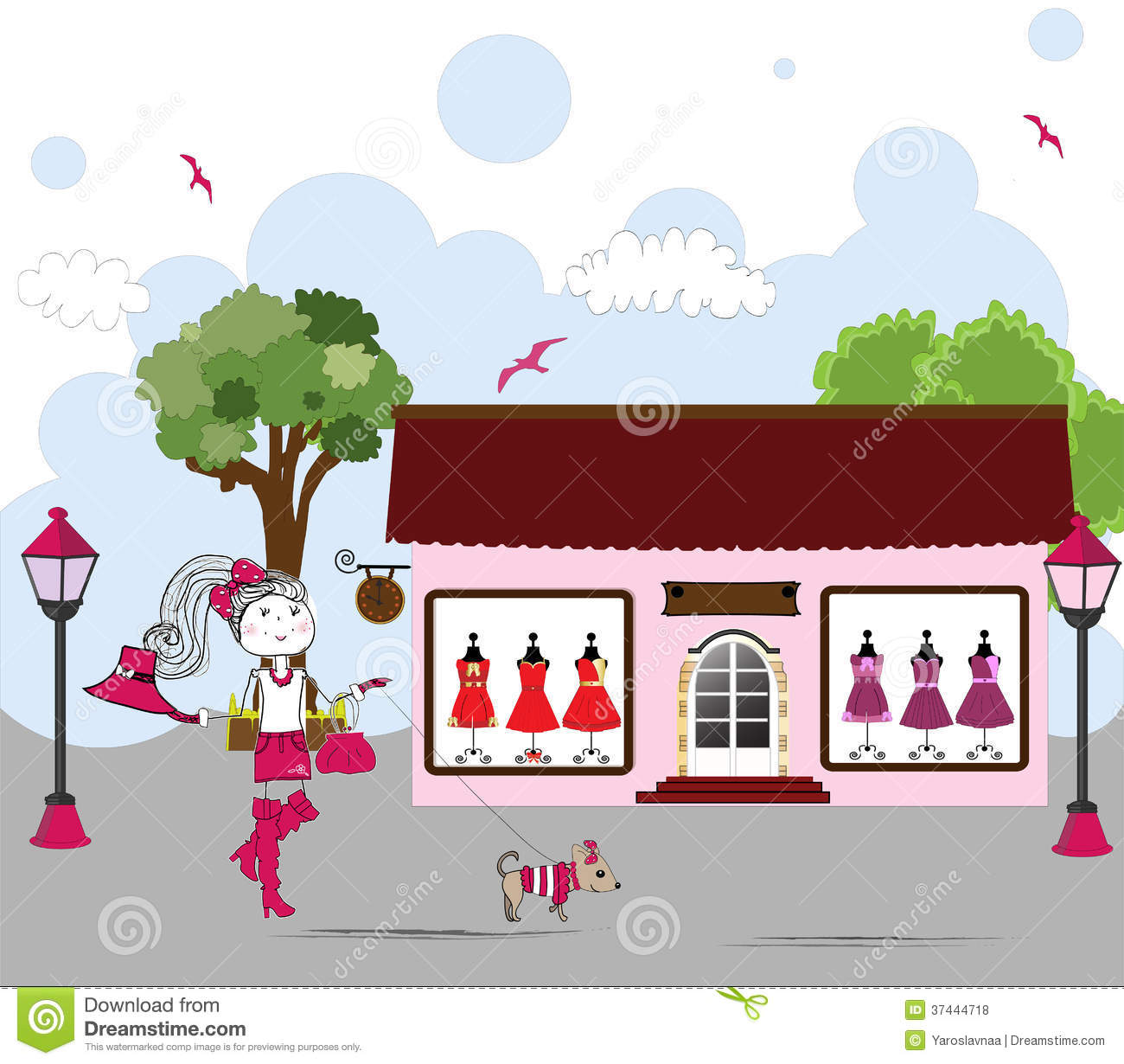 Cartoon Of Woman Window Shopping With Dog Vector