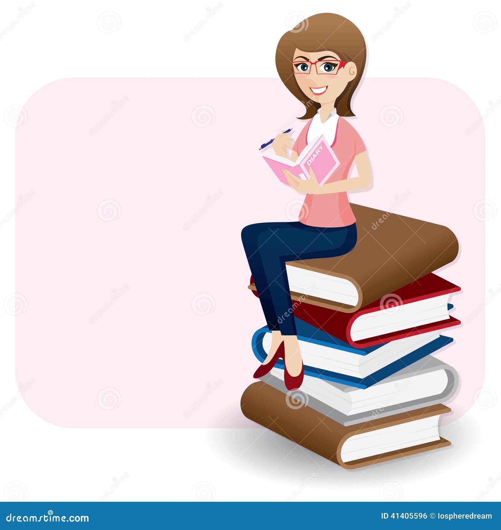 Cartoon Diary: Cartoon Woman Writing Diary On Stack Of Book Stock Vector