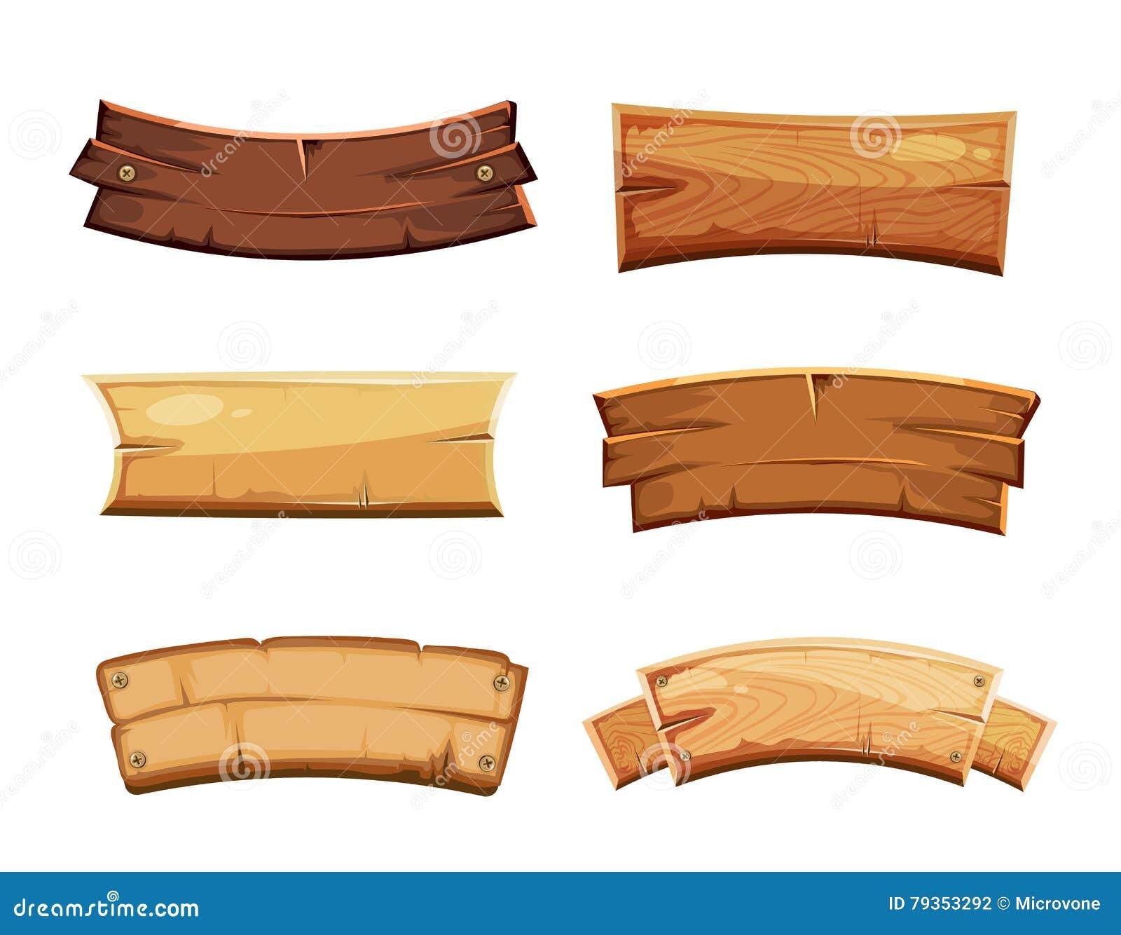 Wood frames set free vector - Banner Blank Cartoon Frame Illustration Plank Set Vector Vintage Western Wood