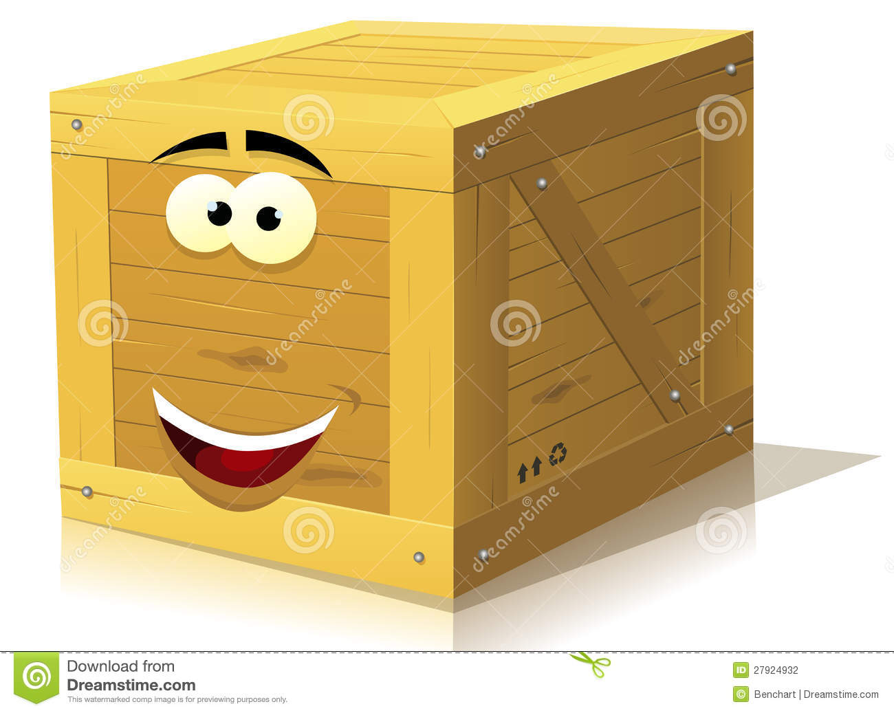 Illustration of a funny cartoon wooden box character happy and smiling ...