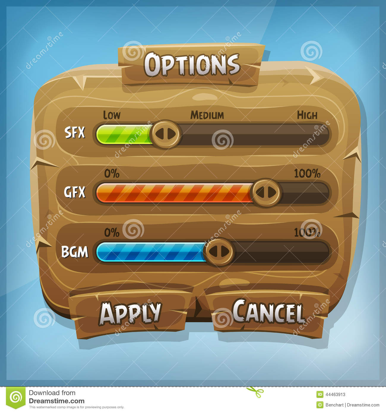 Illustration of a funny cartoon design ui game wooden options control ...