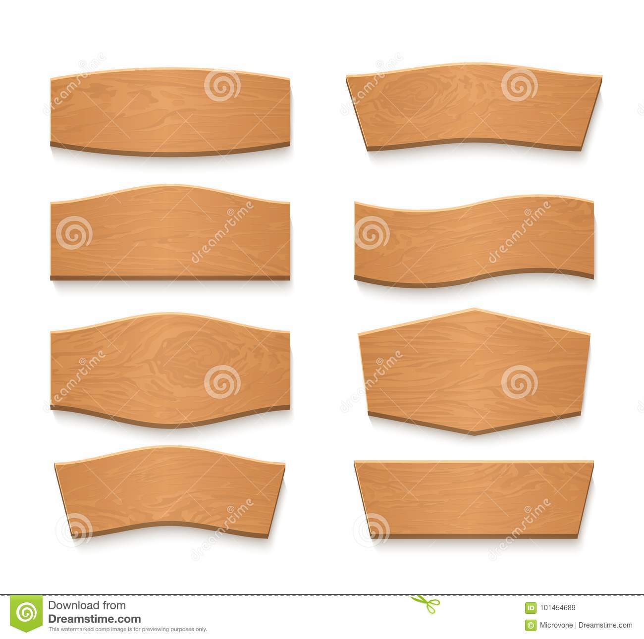 Cartoon wooden brown plate empty vector banners. Vintage wood ribbons set